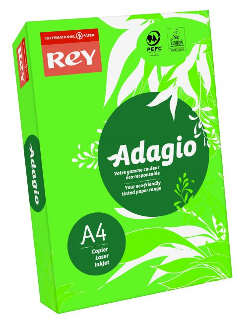 Image for Rey Adagio A4 Paper 80gsm Deep Green RM500
