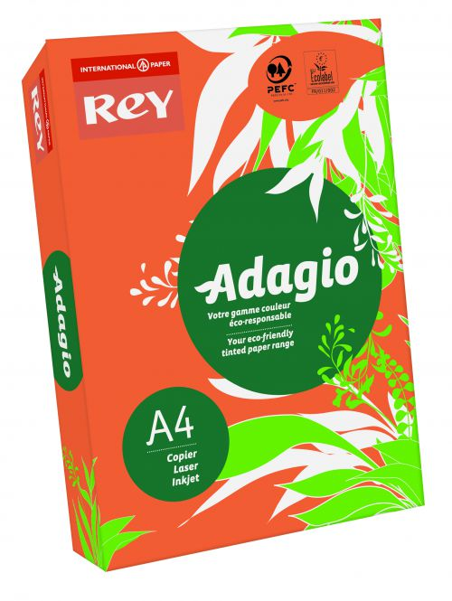 Image for Rey Adagio A4 Paper 80gsm Deep Orange RM500