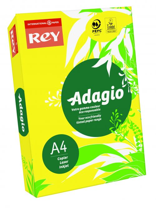 Image for Rey Adagio A4 Paper 80gsm Deep Yellow RM500