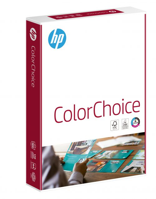 Hewlett Packard [HP] Color Choice Card Smooth Colorlok 160gsm A4 White Ref CHP754 [250 Sheets]