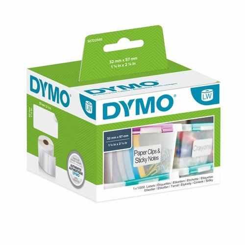 Dymo 11354 32mm x 57mm Multi Purpose Labels Black on White