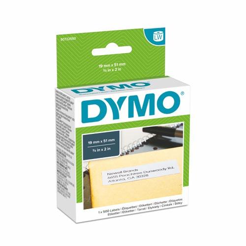 Dymo 11355 19mm x 51mm Multi Purpose Labels Black on White