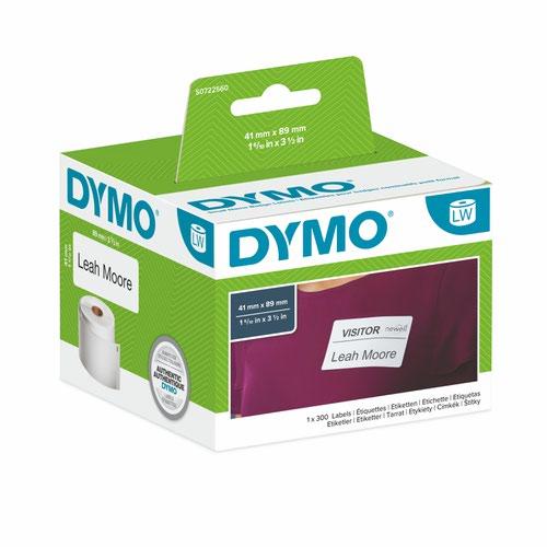 Dymo 11356 41mm x 89mm Name Badge Labels Black on White