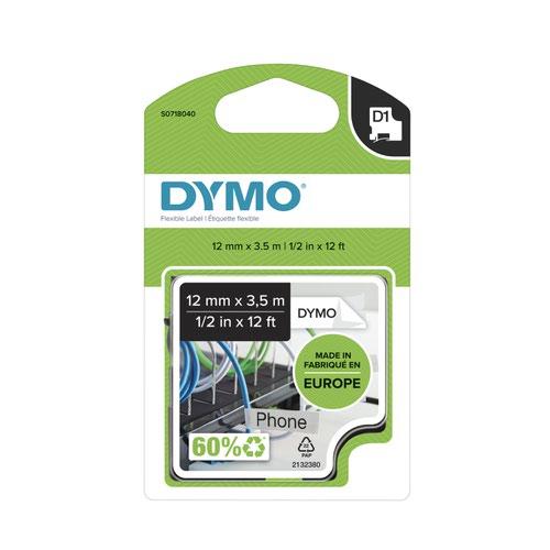 Dymo 16957 D1 12mm x 3.5m Black on White Tape