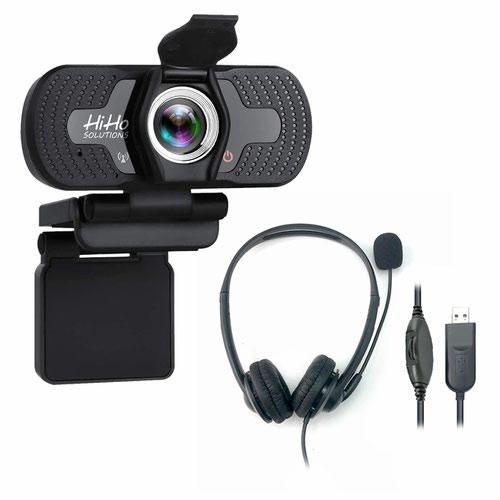 HiHo 1000W HD Webcam and HiHo 218B Headset Bundle