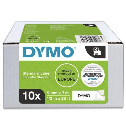 Dymo 40913 D1 9mm x 7m Black on White Tape