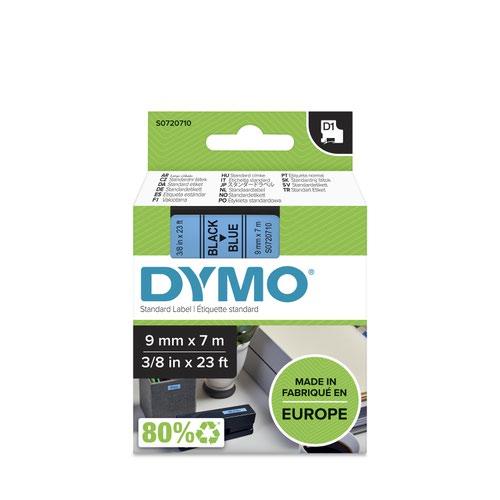 Dymo 40916 D1 9mm x 7m Black on Blue Tape
