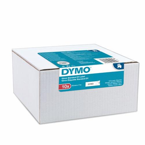 Dymo 45013 D1 12mm x 7m Black on White Tape