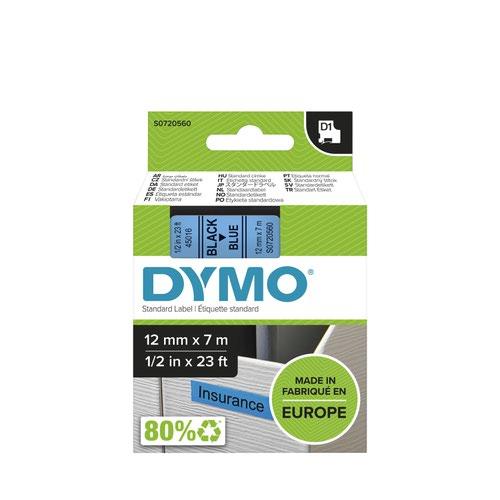 Dymo 45016 D1 12mm x 7m Black on Blue Tape