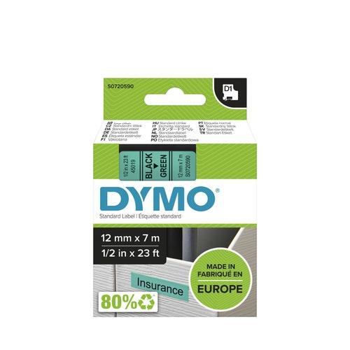 Dymo 45019 D1 12mm x 7m Black on Green Tape