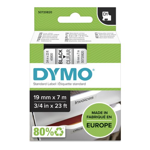 Dymo 45800 19mm x 7m Black on Clear Tape