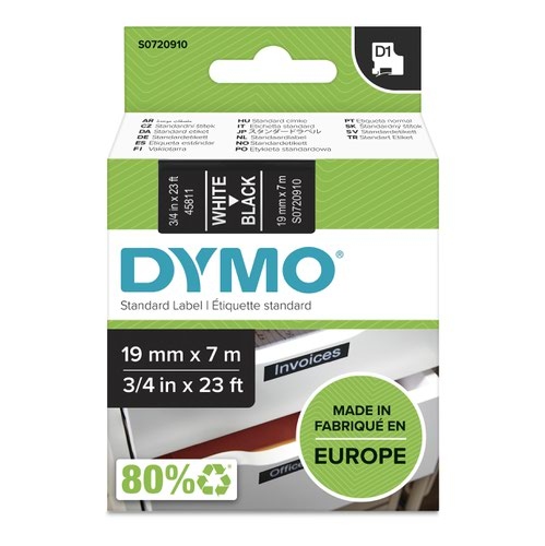 Dymo 45811 19mm x 7m White on Black Tape