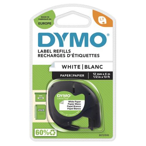 Dymo 91200 12mmx4m Black On White Paper Tape