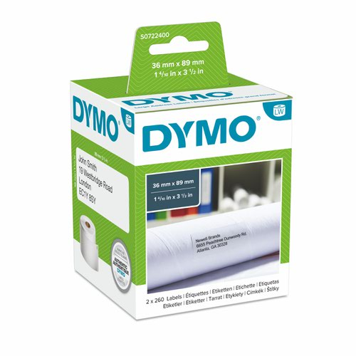 Dymo 99012 36mm x 89mm Large Address Labels Black on White Box of 2 Rolls