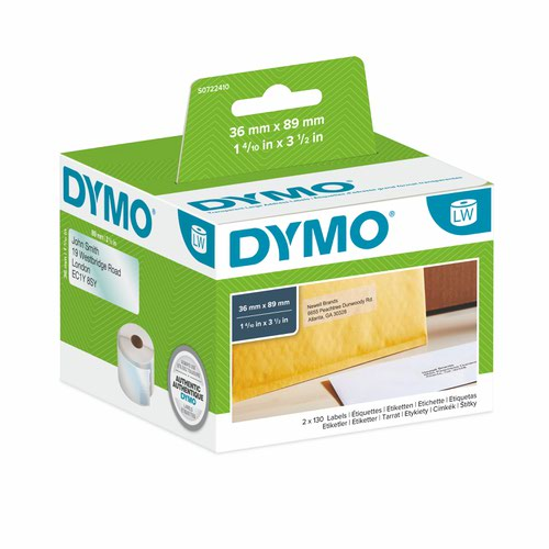 Dymo 99013 36mm x 89mm Address Labels Black On Clear