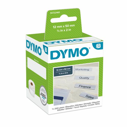 Dymo 99017 12mm x 50mm Suspension File Labels Black on White