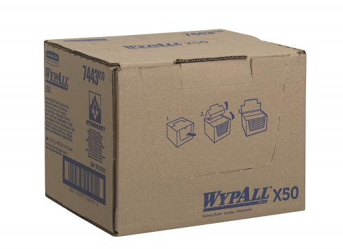 Wypall X50 Cleaning Cloths Absorbent Strong Non-woven Tear-resistant Yellow Ref 7443 [Pack 50]
