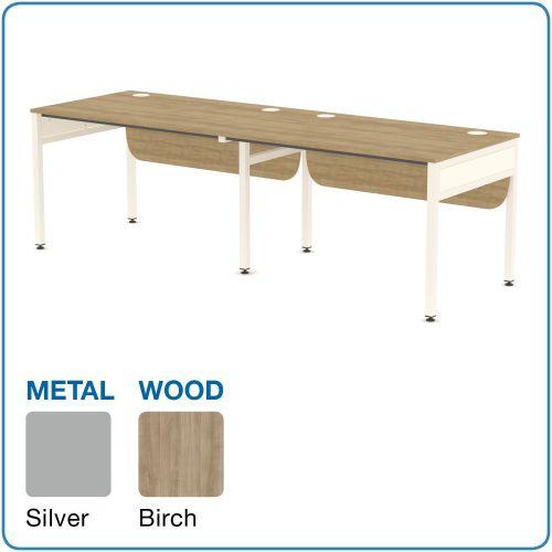 Tremendous Lp Libra Rectangular 2 Desks Side By Side 1200Mm Silver Birch Download Free Architecture Designs Scobabritishbridgeorg