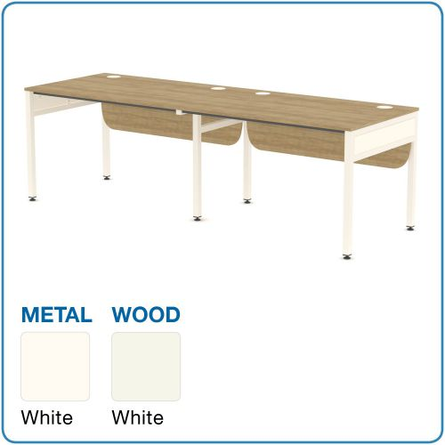 L&P Libra Rectangular 2 Desks (Side by Side) 1200mm White/White
