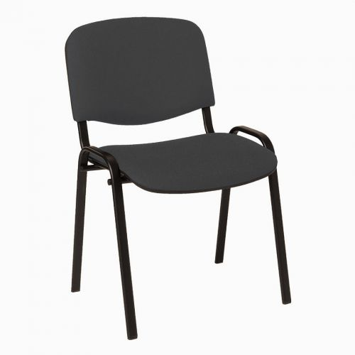Stackable Side Chair Black Frame, Charcoal Fabric