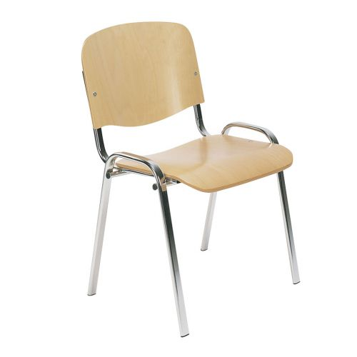 Stackable Side Chair Chrome Frame, Plywood Beech
