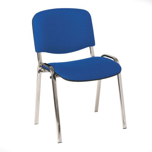 Stackable Side Chair Chrome Frame, Blue Fabric