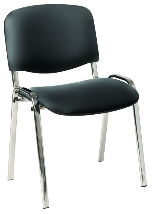 Stackable Side Chair Chrome Frame, Black Vinyl