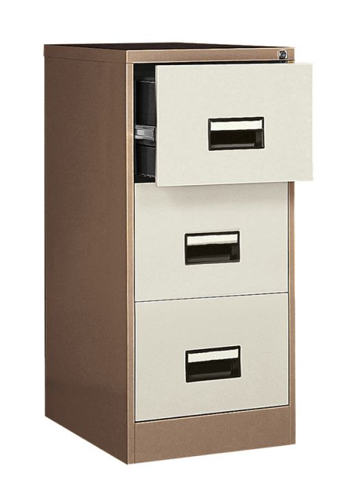 Contract 3 Drawer Filing Cabinet, 1024H X 460W X 620D, Coffee/Cream