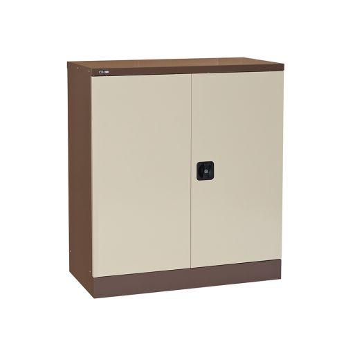 Contract Double Door Cupboard, 1016H X 914W X 457D, Coffee/Cream, 1 Cream Shelf