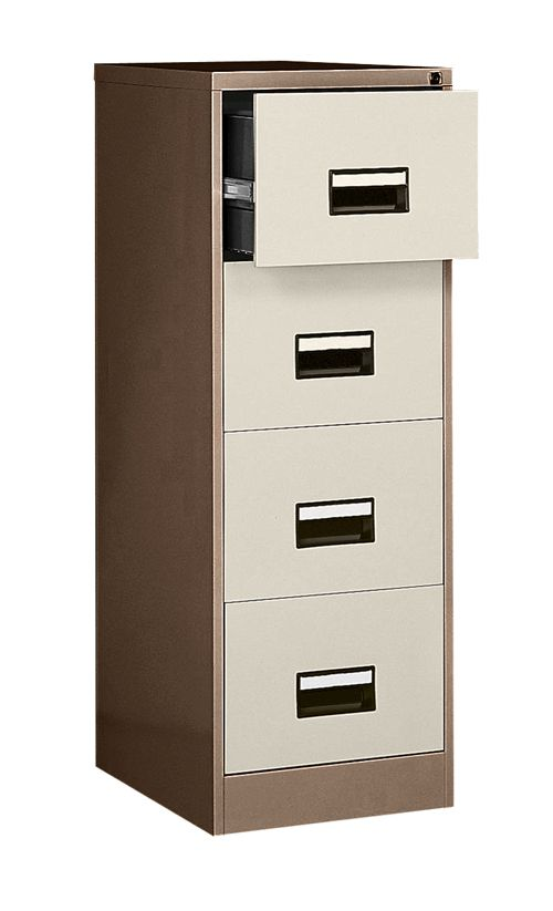 Contract 4 Drawer Filing Cabinet, 1321H X 460W X 620D, Coffee/Cream