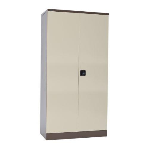 Contract Double Door Cupboard, 1829H X 914W X 457D, Coffee/Cream, 3 Cream Shelves