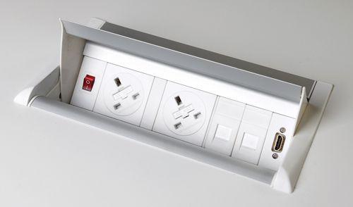 Aero Flip Power Module, 2 x UK Power Socket, 2 x RJ45 Data Ports, 1 x HDMI port, White - power lead to be ordered separately