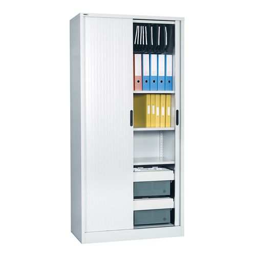 Side Opening Tambour Unit Supplied Empty 1981H X 1000W X 486D Grey