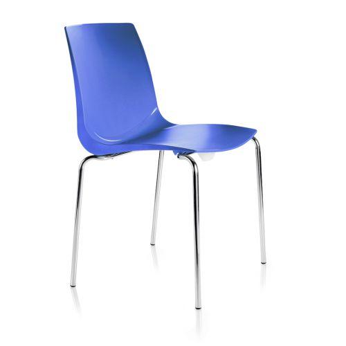 Ari, 4 Chrome Legs, Polypropylene Shell Blue