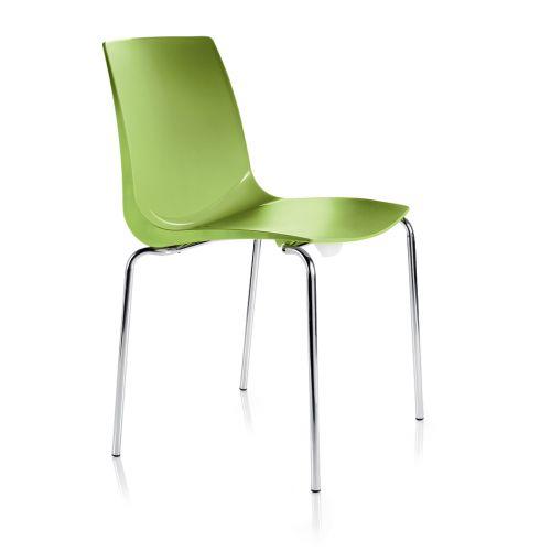Ari, 4 Chrome Legs, Polypropylene Shell Green