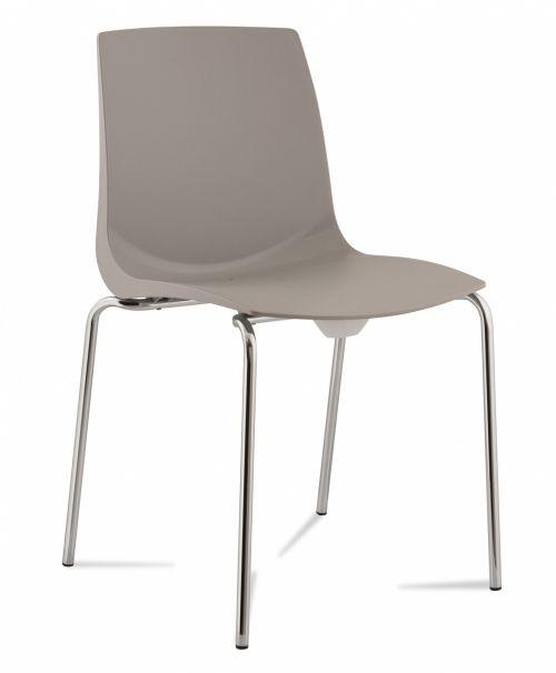 Ari, 4 Chrome Legs, Polypropylene Shell Grey