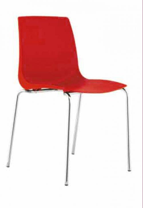 Ari, 4 Chrome Legs, Polypropylene Shell Red