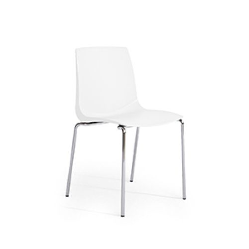 Ari, 4 Chrome Legs, Polypropylene Shell White