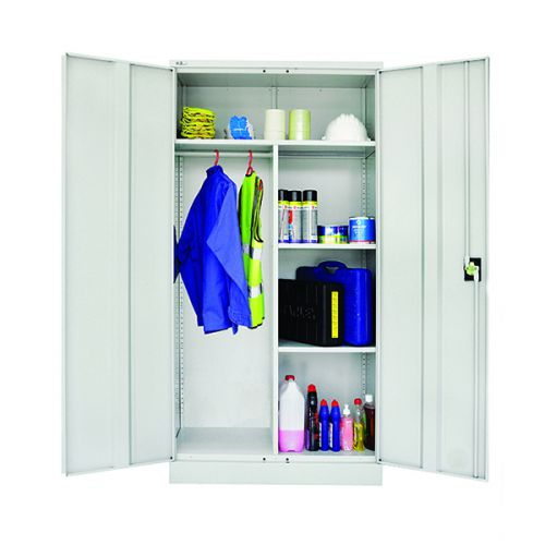 Janitor Double Door Cupboard, 1829H X 914W X 457D, Grey