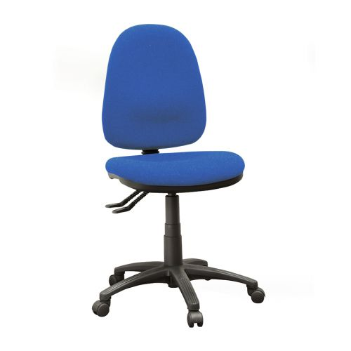 Operator High Back Chair With No Arms, Advantage Cobalt Blue AD004 Fabric