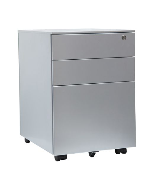 3 Drawer Steel Mobile Pedestal, 600H X 400W X 500D, Silver