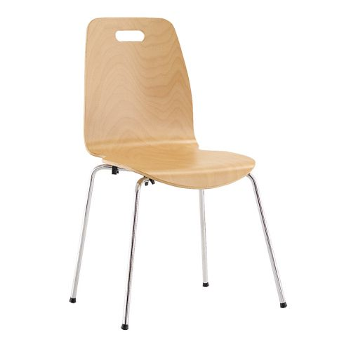 Bistro Wood Chair, 4 Chrome Legs, Plywood Seat And Back, Beech