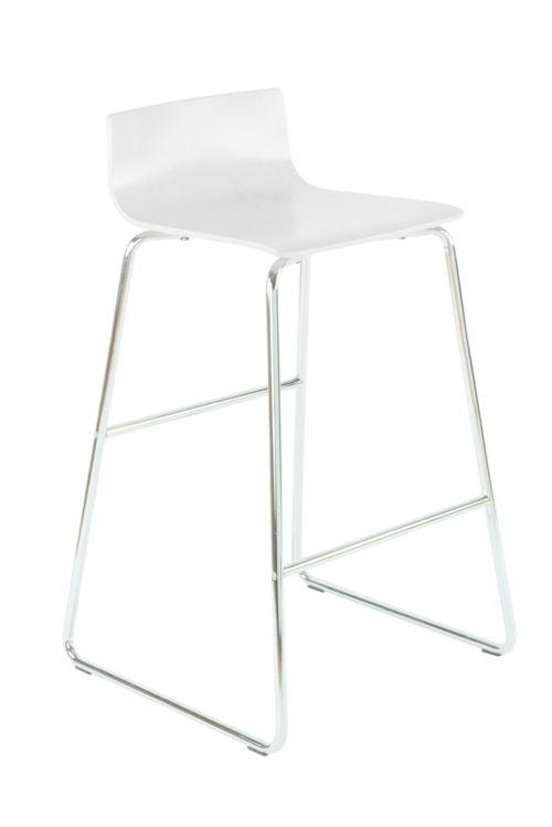 Bistro Wood Stool, Chrome Sled Leg Frame, Laminate Seat And Back, Chrome Foot Rung, White