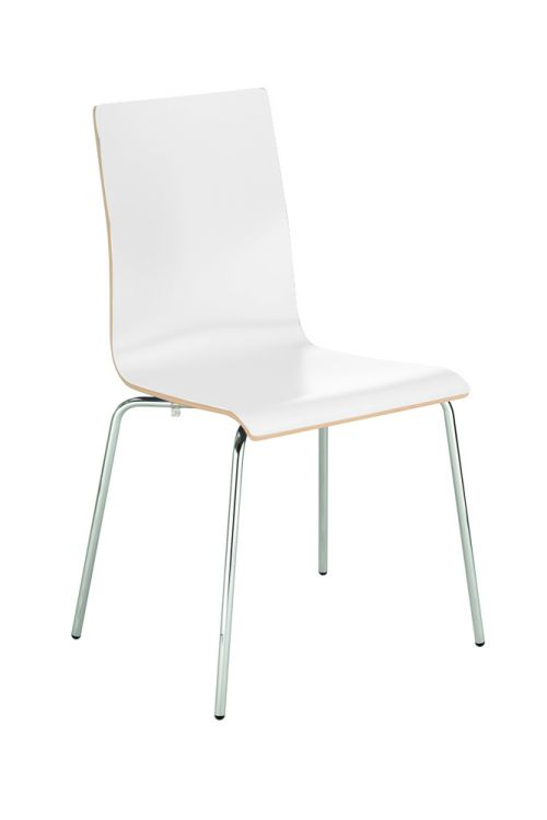 Bistro Wood Chair, 4 Chrome Legs, Laminate Seat And Back, White