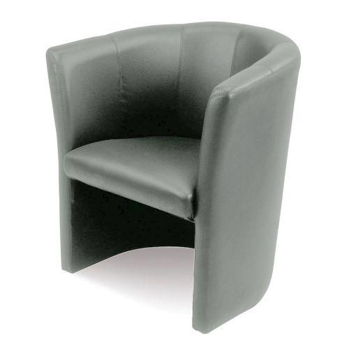 Single Tub Chair, Grey Valencia Platin 4043 Vinyl
