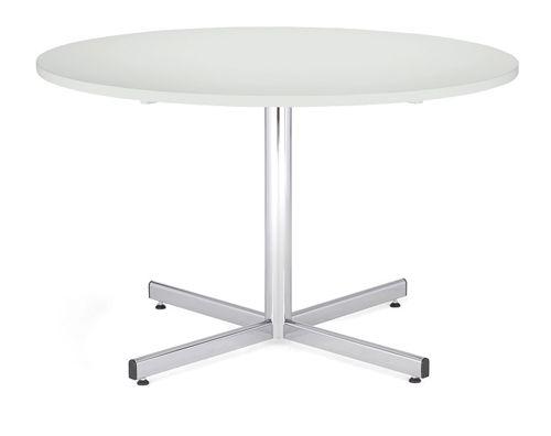Bistro Table 1000 Diameter, Melamine White Top, Chrome 740H Leg