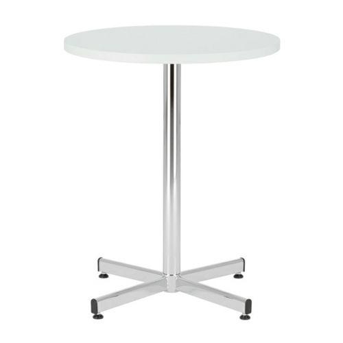 Bistro Table 800 Diameter, Melamine White Top, Chrome 1100H Leg