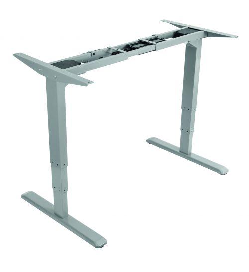 Electric Height Adjustable Desk Frame, For Top Widths 1200-1800mm, Depth 800mm, Silver