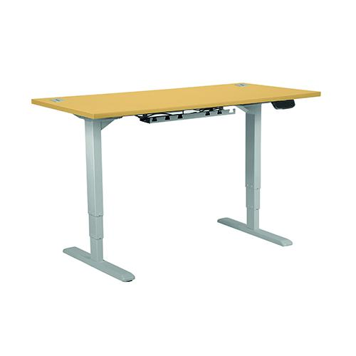 Electric Height Adjustable Desk Frame In Silver, With 25mm Desktop 1400W X 800D In Beech