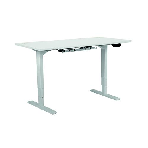 Electric Height Adjustable Desk Frame In Silver, With 25mm Desktop 1400W X 800D In White